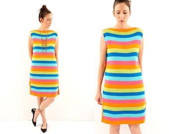 vintage 60s mod NEON striped SWEATER shift dress M-L