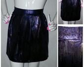 "Pleated blue/gold ""snake skin"" mini skirt/ Mini skirt/ faux leather skirt/snake skin skirt"