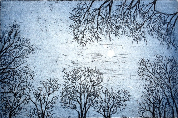 On a Winter Evening: wall art decor, nature sky trees, moon, a hand pulled limited edition etching in color. Blue.