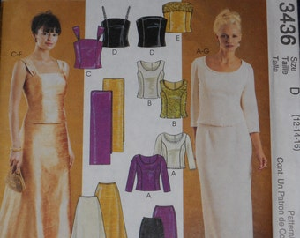 McCall's 3436 Evening Elegance Women's Long Formal Wear Lined Tops, Skirts and Stole    Size 12-14-16  Uncut New