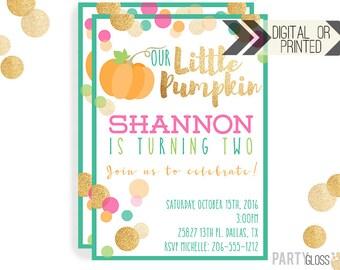 Pumpkin Invitation | Digital or Printed | Pumpkin Party | Glitter Pumpkin Invite | Girl Pumpkin | Gold Glitter Invitation | Little Pumpkin