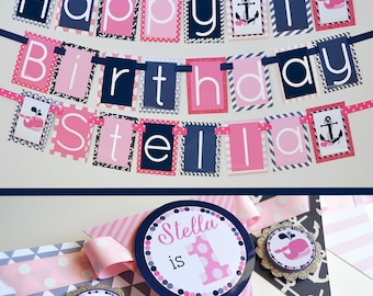 Girly Nautical Whale Birthday Party Decorations Package Fully Assembled