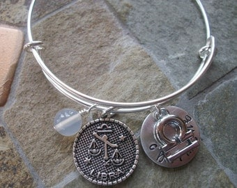 Libra Adjustable Bangle - Zodiac Jewelry - What's Your Sign - Air Element - Horoscope Bracelet