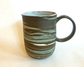 Marbled Mug - Brown with Blue and White