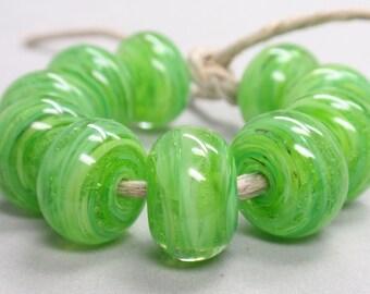Green Gras Swirls  - 10 Handmade Lampwork Beads SW 234