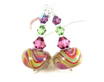 Pink Yellow Chartreuse Glass Dangle Earrings, Colorful Earrings, Boro Lampwork Earrings, Boho Earrings, Bohemian Jewelry, Lampwork Jewlery