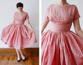 1950s Pink and Gold Party Dress - S/M