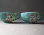 2 Vintage Porcelain Tea Cups ~ Turquoise & Pink Floral ~ Hong Kong