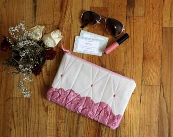 Zipper Clutch, Zipper Pouch, Pink Cream Canvas Zipper Clutch, Zipper Purse, Zipper Handbag, Casual Purse, Makeup Case, Bridesmaids Gifts