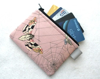 The Ghastlies Coin Purse Wallet Business Card Holder Credit Card Case Zippered Alexander Henry Ghastlie Spider Web Moths Gray Mauve Pink MTO