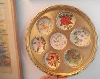 Vintage Florida Souvenir Drink Tray ~ Round serving tray ~ Mid Century Modern Barware Kitsch