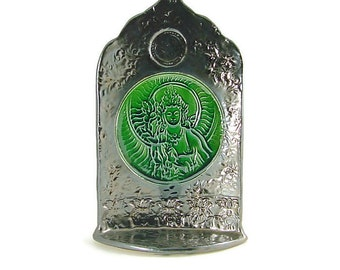 Green Tara Shrine Handmade Ceramic Pottery in Emerald