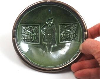 Ceramic Bowl Handmade Pottery Female Celtic Kilt