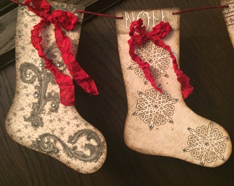 Christmas Stocking banner / garland, 6 images, hand cut, rhinestone decoration.