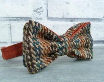 Harris Tweed and Silk Bow Tie - Brown/Teal/Burnt Orange