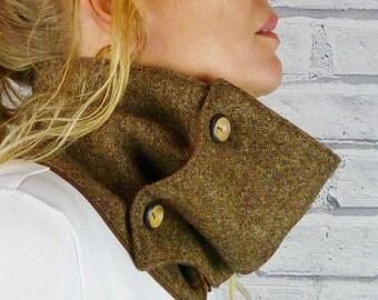 READY TO SHIP Women's Neckwarmer Scarf - Brown Yorkshire Birdseye Tweed, Womens Scarf, Cowl, snood
