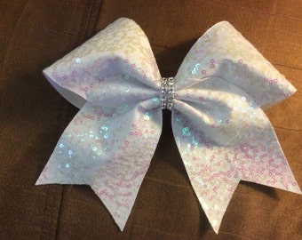 Texas Size Cheer bow - White sequin - pink tint