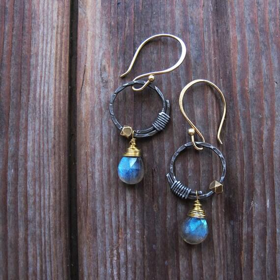 Full Circle Earrings - Labradorite Blue Stone Earrings - Rustic Circle Earrings
