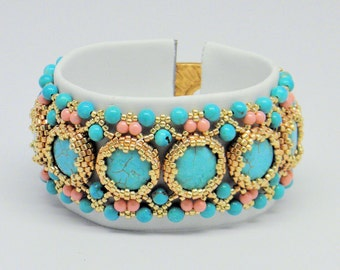 Coral and Turquoises Bracelet,Bracelet with Swarovski crystalspearls ,Coral Gems, Turquoises Gem, seed beads