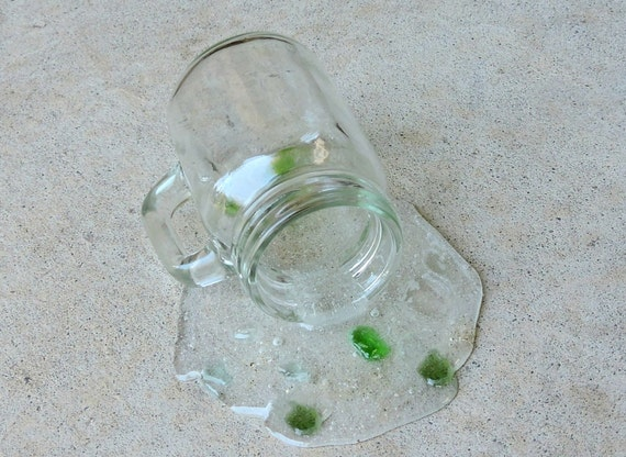 """Fake Sea Glass Spilled From a 3.25"""" Jar Handle Fun Prop Staging Gag"""