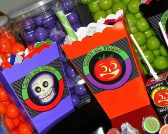 Halloween Mini Popcorn Boxes. Halloween Party Treat Boxes. Pumpkin Party Favor Boxes. Jack o lantern Favor Boxes. Trick or Treat Theme