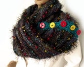 SALE, Chunky scarf, Infinity scarf, Boho scarf, Snood, Cowl, Cape, Cowl with buttons, Knit long scarf, Buttoned scarf, Scarf cowl