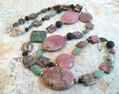 On Sale Rhodonite and Chinese Turquoise Necklace Earring Set, Pink, Turquoise, Black, Long Gemstone Necklace
