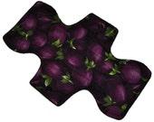 Moderate Hemp Core- Eggplant Mermaids Reusable Cloth Overnight Pad- WindPro Fleece- 10.5 Inches (26.5 cm)