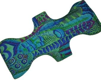 Super Hemp Core- Peacock Feathers Reusable Cloth Goddess XL/Postpartum Pad- WindPro Fleece- 16.5 Inches
