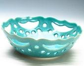 Aqua Blue Fruit Bowl/Bread Bowl/Lace Bowl
