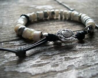 Handmade Jewelry  -  Peruvian Opal Bracelet  -  Layering Bracelet  -  Leather  -  Button Bracelet  -  SimpleeSilver  -  Rustic Jewwelry