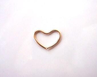 16 Gauge Gold Heart Cartilage Ring 17x16mm 14k Gold Filled, Daith, Tragus