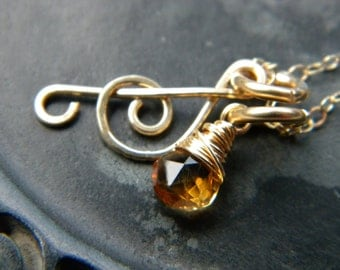 Forged treble clef music note and faceted bright yellow citrine necklace - Handmade 14k gold filled jewelry