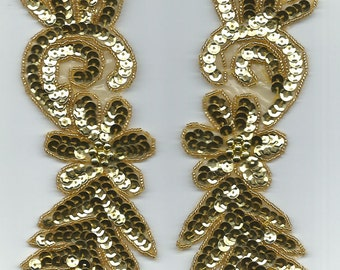 """gold leaf sequin bead appliques mirror pair hand made sewing 7.5"""" x 3"""""""