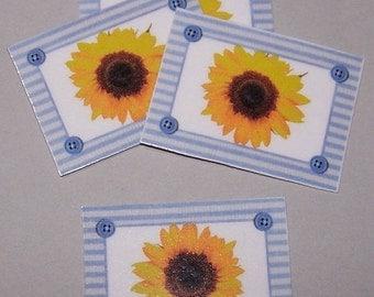 ON SALE Placemats, Springtime, Summertime, Colorful, French Cottage, Kitchen Decor, Miniature Decor, Sunflower, Blue Stripe, Dollhouse