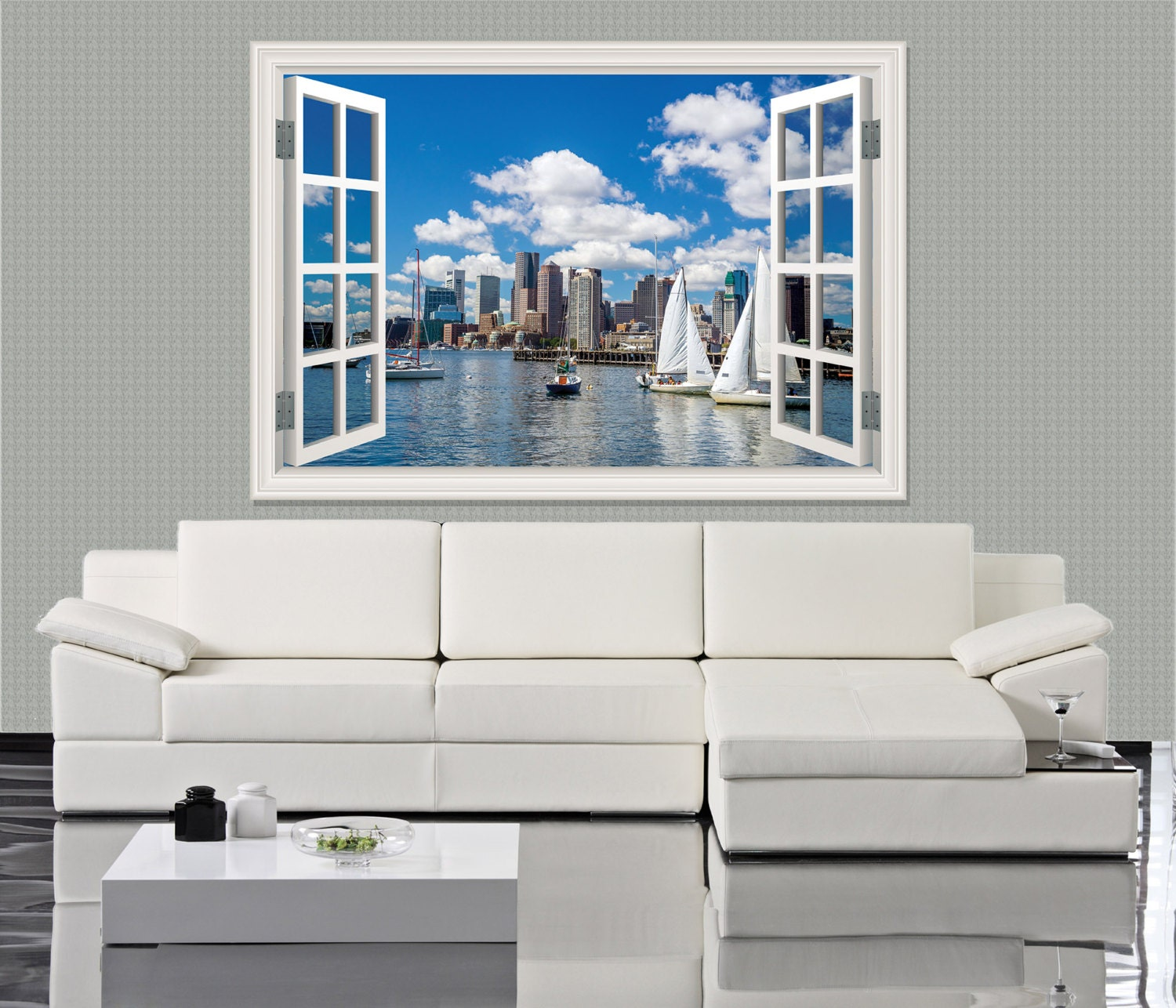 Wall mural window self adhesive boston skyline seen from for Boston wall mural