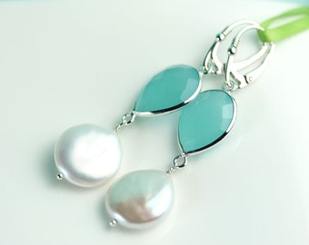 Aqua Chalcedony with large coin pearl Sterling silver Lever back earrings by art4ear, Statement earrings, gift for her, under 50 dollars