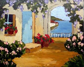 Lynne French Impressionist AMALFI Italian Coast COURTYARD Garden Landscape Painting 16x20 Art