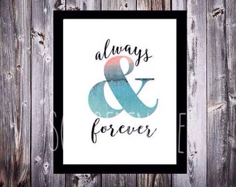 forever and always (hsimmo2) watercolor art printable digital download