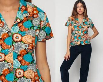 Floral Blouse Button Up Shirt 70s Disco Top Short Sleeve Collar Hipster Boho Hippie Orange Turquoise 1970s Bohemian Vintage Medium