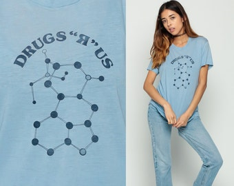 Drug Shirt DRUGS R US Shirt Graphic Tee Pharmacology Vintage 80s Hippie BURNOUT Tshirt Paper Thin Hipster T Shirt 1980s Blue Extra Large xl
