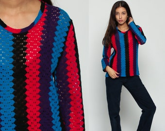 70s Sweater Boho Mod Striped POINTELLE Knit Cutout SHEER Vintage Bohemian Pullover Light Thin Cut Out Black Blue Purple Medium