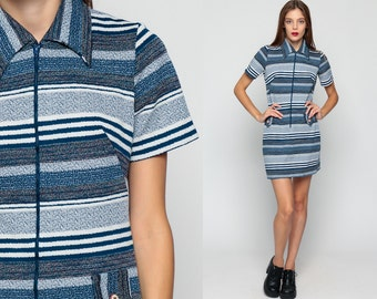 Striped Dress Mod 60s Mini Front Zip Gogo Navy Blue White Vintage 70s Shift Collar Twiggy 1970s Short Sleeve Minidress Medium