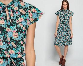 Floral Dress 70s Cap Sleeve Black Turquoise Midi Bohemian Keyhole Neck 1970s Vintage Boho High Waisted Romantic Retro Slouch Flowy Large