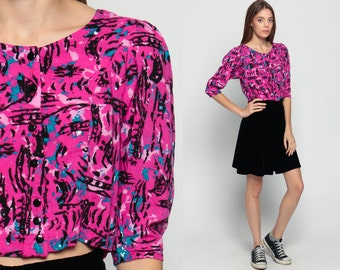 Crop Top 80s Button Up Shirt PUFF SLEEVE Blouse Grunge Cropped Hot Pink Abstract Print Splatter Summer 1980s Vintage New Wave Small Medium