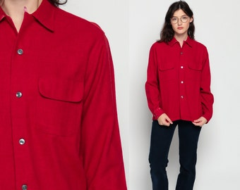 70s Shirt Button Up Dark Red Blouse 1970s Top Vintage Plain High Neck Oxford Collared Hipster Long Sleeve Medium