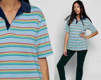 Striped Shirt Rainbow Stripes Tshirt Polo Button Up 80s GRUNGE Top 1980s Short Sleeve Shirt Vintage BurnoutBaby Blue Retro Medium