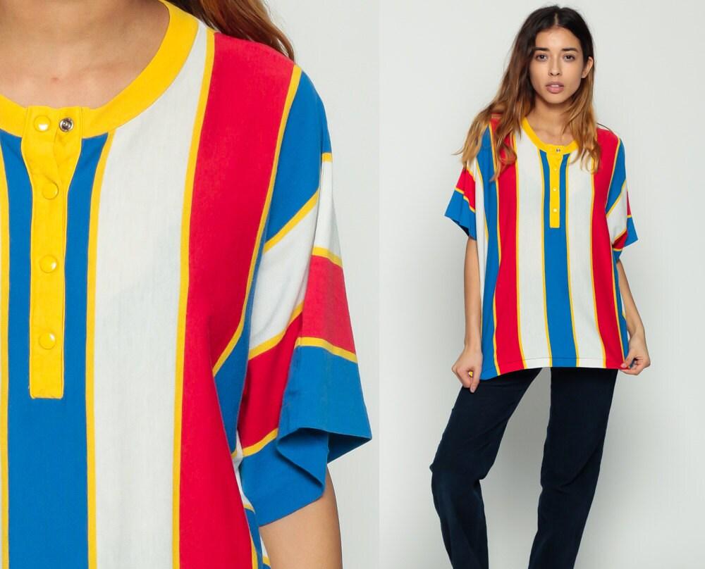80s Shirt Striped T Shirt Half Button Up Polo Tshirt Yellow