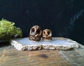 Two Owls Vintage Handmade Miniature Bird Pottery Animal Figurine
