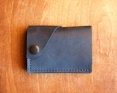 "Leather Wallet ""The Loaded Dave"" in Matte Black w/ cash pocket addition"